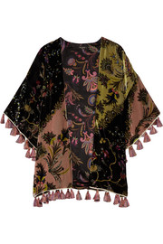 Etro Reversible tasseled printed velvet and silk-satin kimono