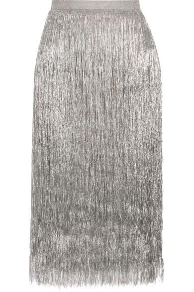 Rachel Zoe - Delilah Metallic Fringed Midi Skirt - Silver