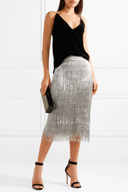Delilah metallic fringed midi skirt
