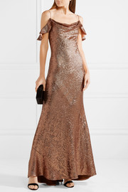Cecilia cold-shoulder sequined stretch-cady gown