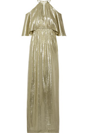 Marlene cutout metallic silk-blend jacquard gown