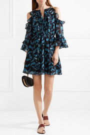 Vikki cold-shoulder printed silk-chiffon mini dress