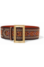 Etro Embroidered leather waist belt