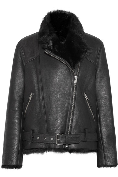 MANTAA TEXTURED-LEATHER AND SHEARLING COAT