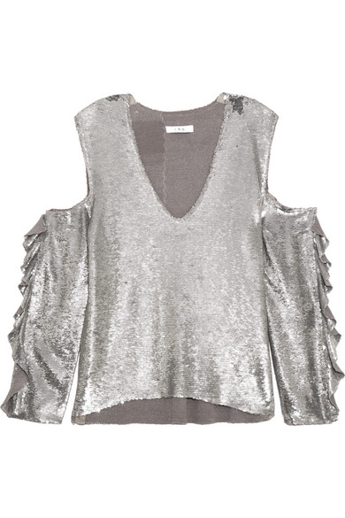 IRO - Waleast Cold-shoulder Ruffled Sequined Tulle Top - Silver