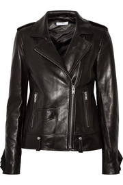IRO Dumont ruffle-trimmed leather biker jacket