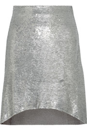 Wadlow asymmetric sequined tulle mini skirt