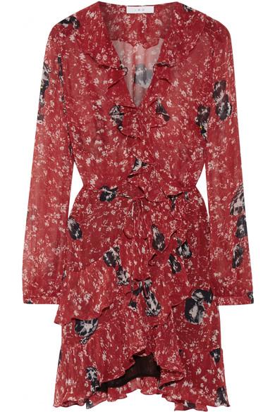 IRO - Vilia Ruffled Printed Chiffon Wrap Mini Dress - Red
