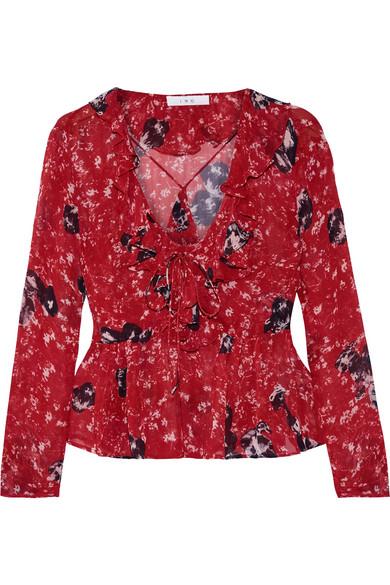 IRO - Venecia Ruffled Printed Chiffon Blouse - Red