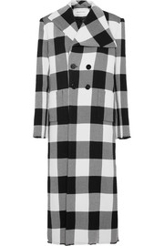 Checked wool-gabardine coat