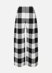 Checked wool-gabardine wide-leg pants