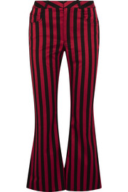 Cropped striped cotton-blend satin flared pants
