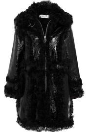 Shearling and crinkled patent-leather coat