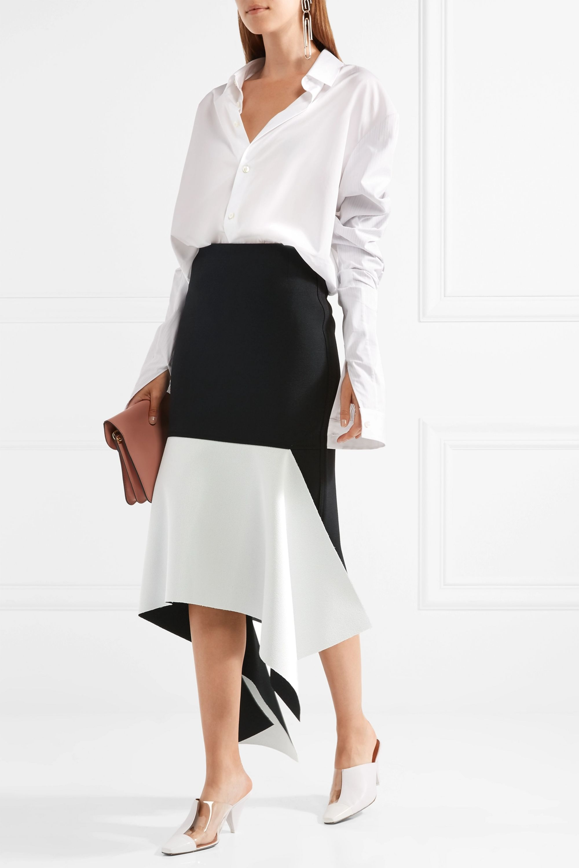 Marques' Almeida Asymmetric two-tone crepe midi skirt