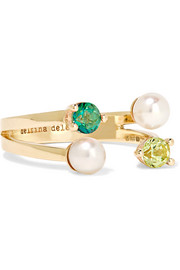 9-karat gold, topaz and freshwater pearl ring