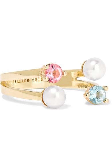 Delfina Delettrez - 9-karat Gold, Topaz And Pearl Ring
