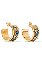 Etro Gold-tone crystal hoop earrings