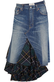 Asymmetric denim and tartan wool midi skirt