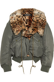 Leopard-print faux fur-lined shell bomber jacket