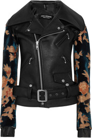Flocked jacquard-paneled faux leather biker jacket