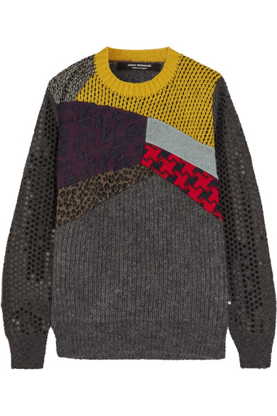 Junya Watanabe - Patchwork Sequined Wool-blend Sweater - Dark gray
