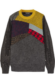 Patchwork sequined wool-blend sweater