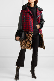 Junya Watanabe Paneled patterned wool-blend, faux fur and faux leather coat
