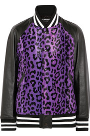 Junya Watanabe Leather-paneled leopard-print faux fur bomber jacket
