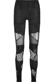 Junya Watanabe Patchwork lace, mesh and stretch-jersey leggings