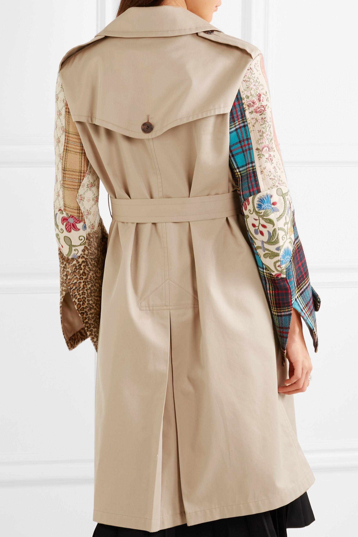 Junya Watanabe Patchwork cotton-gabardine, tweed and jacquard trench coat