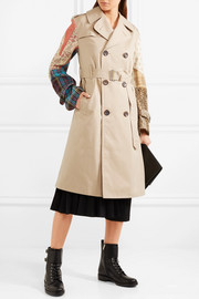 Junya Watanabe Patchwork cotton-gabardine, tweed and jacquard trench coat