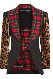 Junya Watanabe Tartan cotton-blend, wool-blend and leopard-print faux fur blazer