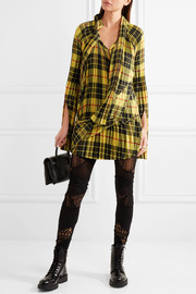 Junya Watanabe Asymmetric pleated tartan twill mini dress