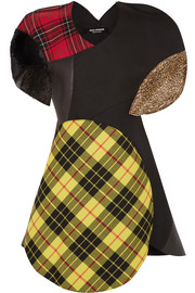 Junya Watanabe Patchwork tartan wool-blend, faux leather and faux fur dress