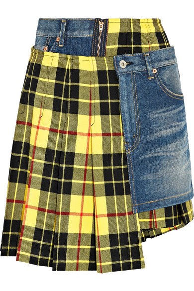 Junya Watanabe - Paneled Tartan Wool And Denim Skirt - Bright yellow