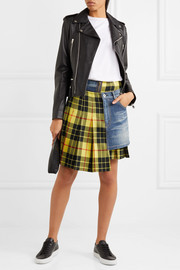 Junya Watanabe Paneled tartan wool and denim skirt