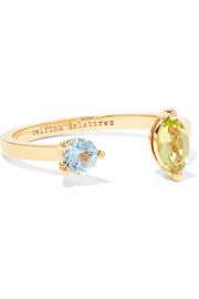 18-karat gold, peridot and aquamarine ring