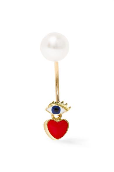 DELFINA DELETTREZ 18-Karat Gold, Pearl And Enamel Earring