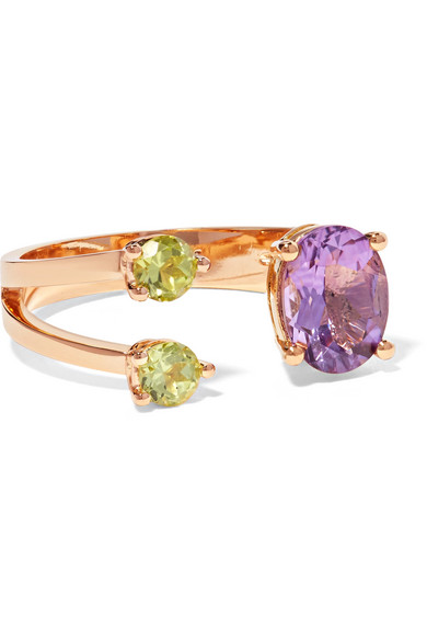 18-Karat Gold, Amethyst And Peridot Ring, Metallic