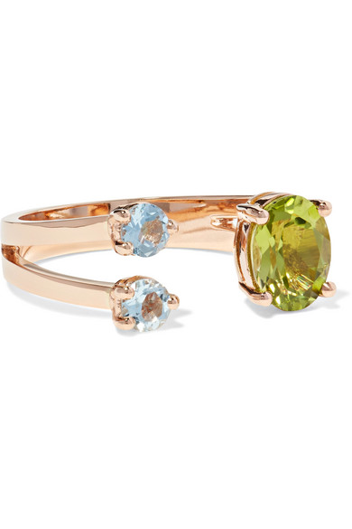 18-Karat Rose Gold, Peridot And Aquamarine Ring, Metallic