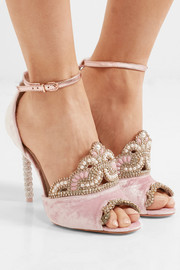Royalty embellished velvet and metallic leather sandals