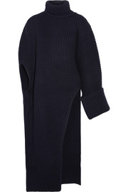Asymmetric oversized wool-blend turtleneck sweater
