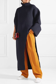 Jil Sander Asymmetric oversized wool-blend turtleneck sweater