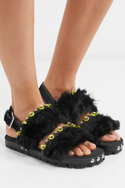Marni Embellished leather and alpaca sandals