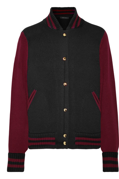 marc jacobs female marc jacobs twotone wool and cashmereblend bomber jacket burgundy