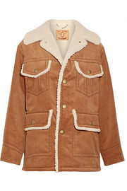 Faux shearling-lined cotton-corduroy jacket