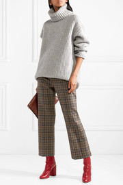 Cropped plaid wool-blend straight-leg pants