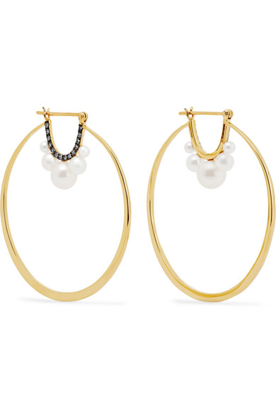 Jemma Wynne - 18-karat Gold, Diamond And Freshwater Pearl Earrings