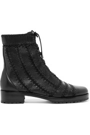 Regina Combat crochet-trimmed textured-leather ankle boots