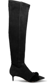 Michele velvet bow-embellished suede over-the-knee boots
